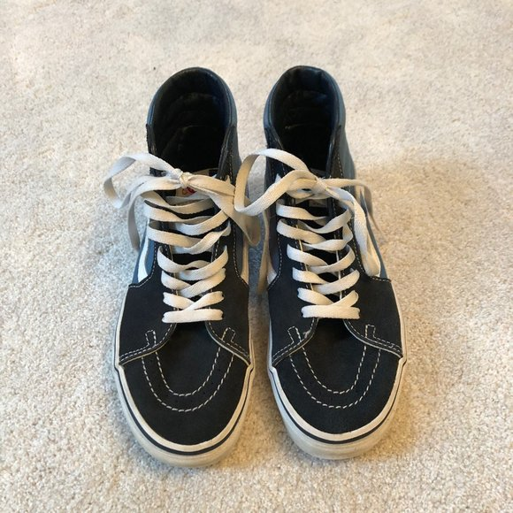 Blue and Gray High Top Vans